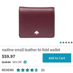 Kate Spade Nadine Small Leather Bi-fold - Maroon
